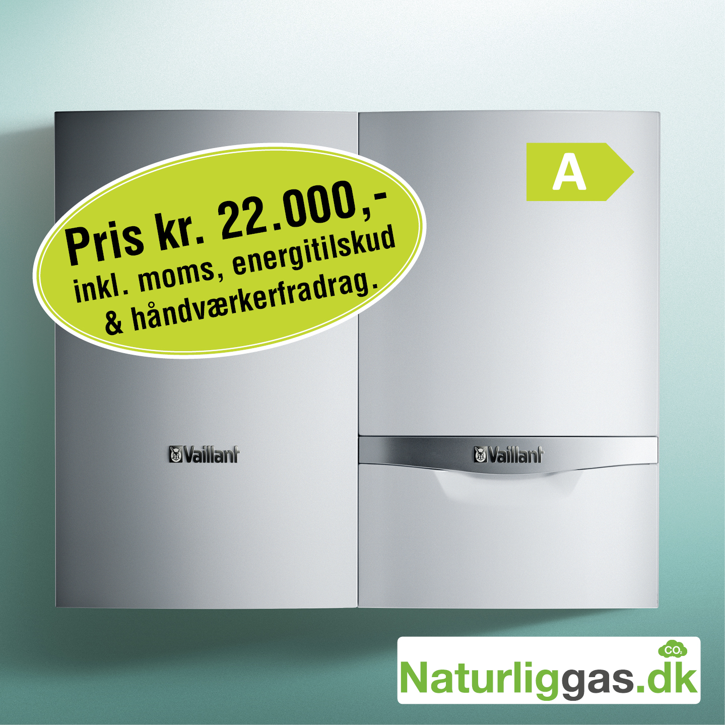 Gasfyr Vaillant ecotec PLUS VC 5/5 inkl. 75l varmtvandsbeholder, komplet